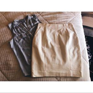 NWT H&M ivory pencil skirt